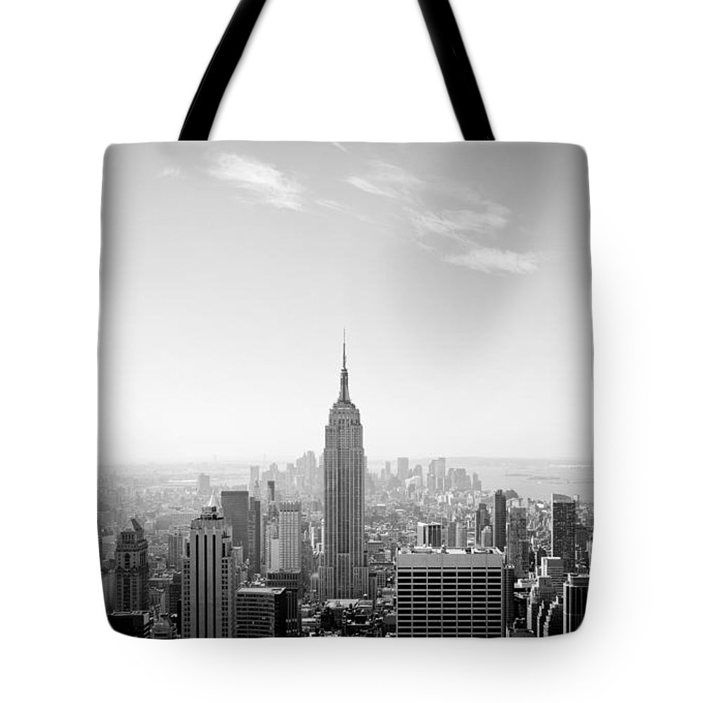 New York City - Empire State Building Tote Bag featuring the photograph New York City - Empire State Building Panorama Black And White by Thomas Richter