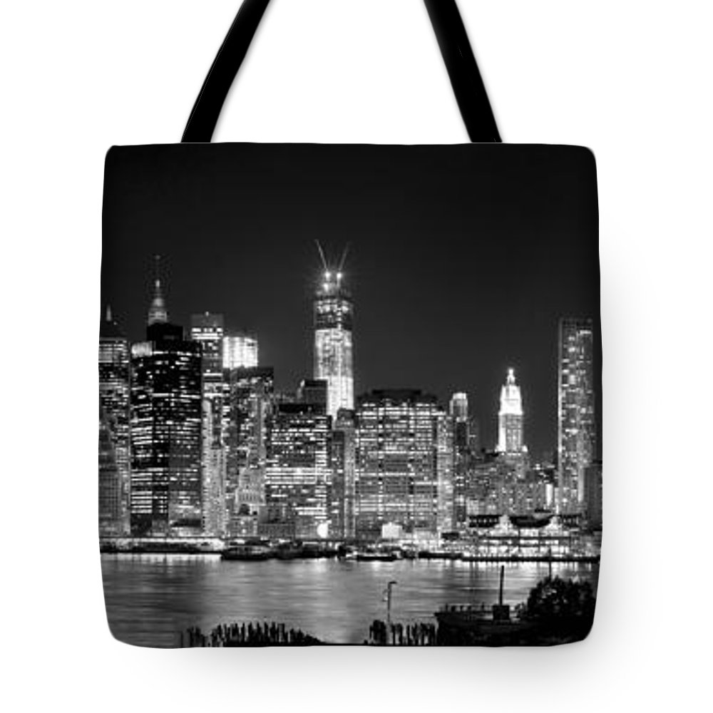 New York City Skyline At Night Tote Bag featuring the photograph New York City Bw Tribute In Lights And Lower Manhattan At Night Black And White Nyc by Jon Holiday