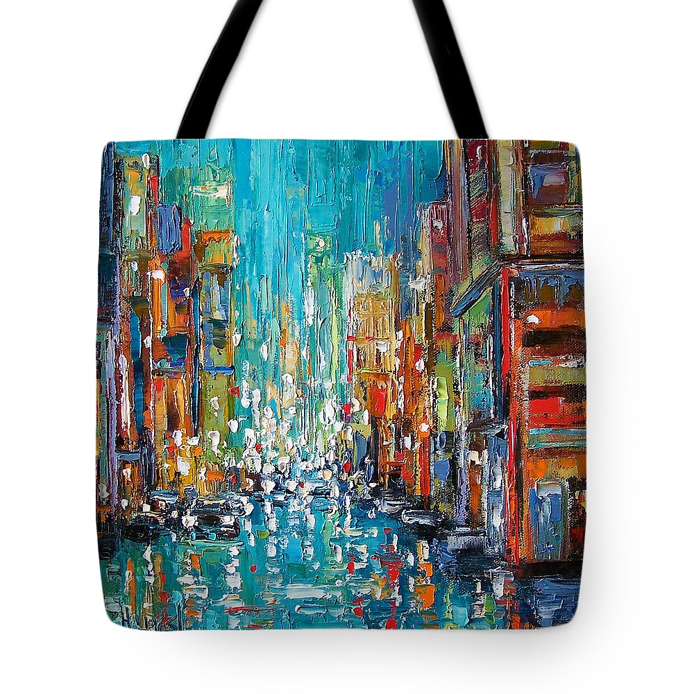 City Art Tote Bag featuring the painting New York City by Debra Hurd