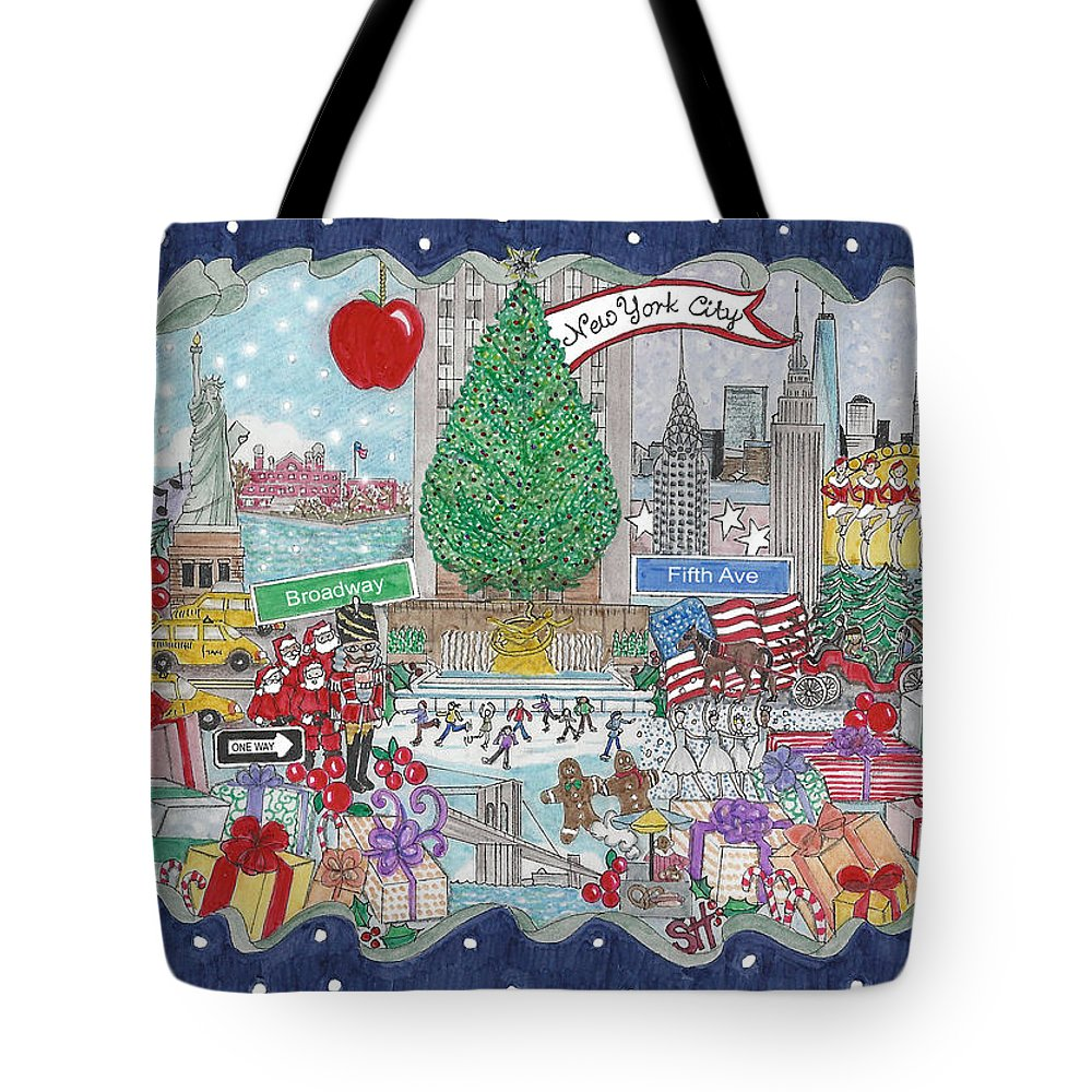 New York City Tote Bag featuring the mixed media New York City Holiday by Stephanie Hessler