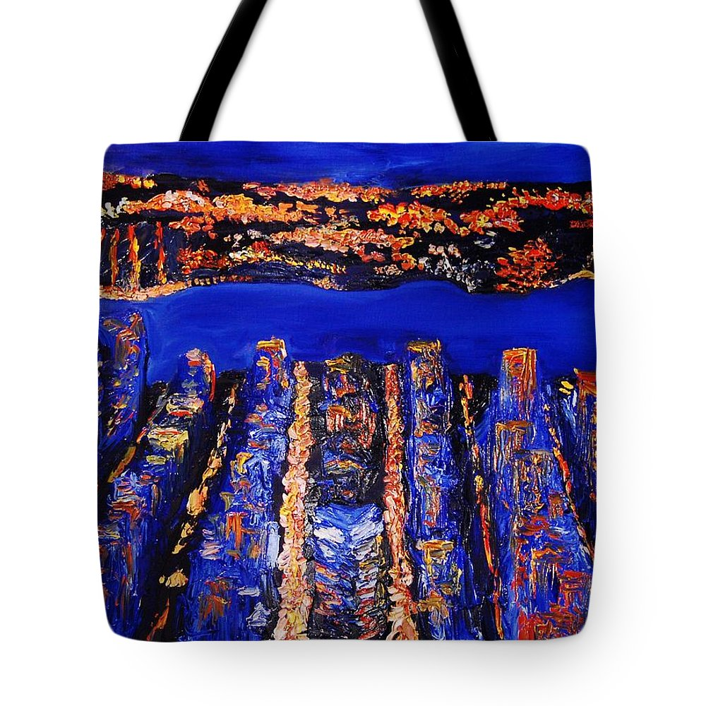 Abstract Tote Bag featuring the painting New York City by Lauren Luna