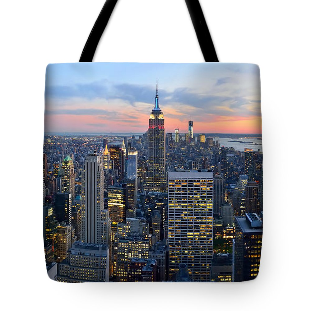New York City Skyline At Dusk Tote Bag featuring the photograph New York City Manhattan Empire State Building At Dusk Nyc Panorama by Jon Holiday