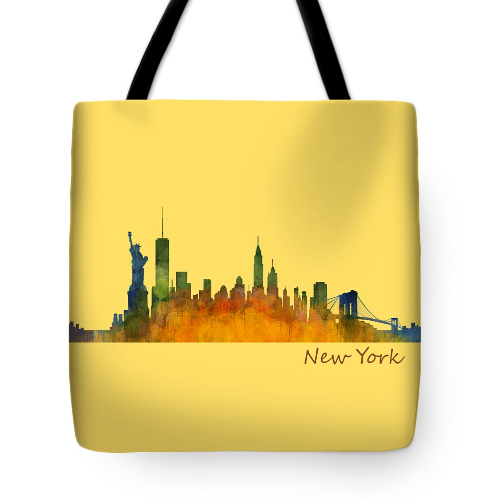 New York Tote Bag featuring the painting New York City Skyline Hq V01 by HQ Photo