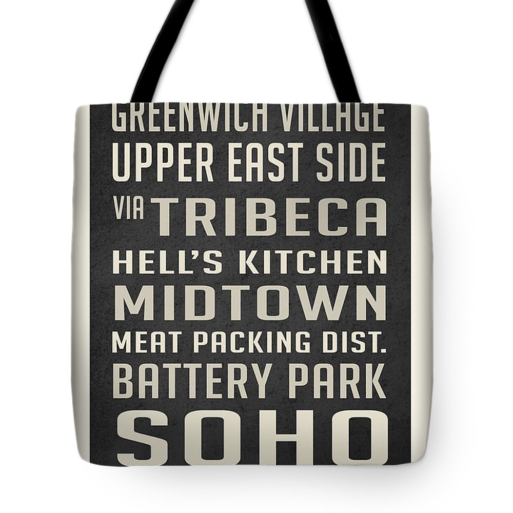 New York City Tote Bag featuring the digital art New York City Subway Stops Vintage by Edward Fielding