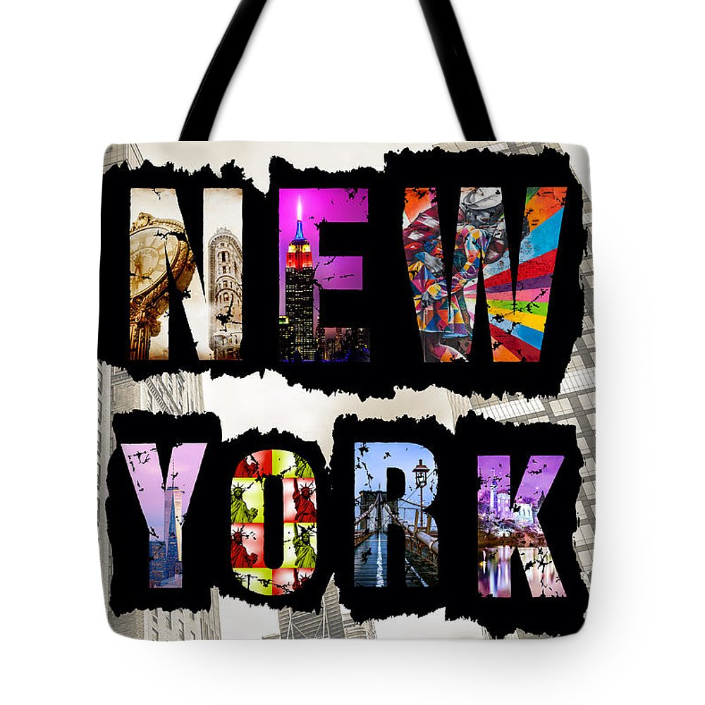 Kissing Sailor Tote Bag featuring the photograph New York City Text by Az Jackson