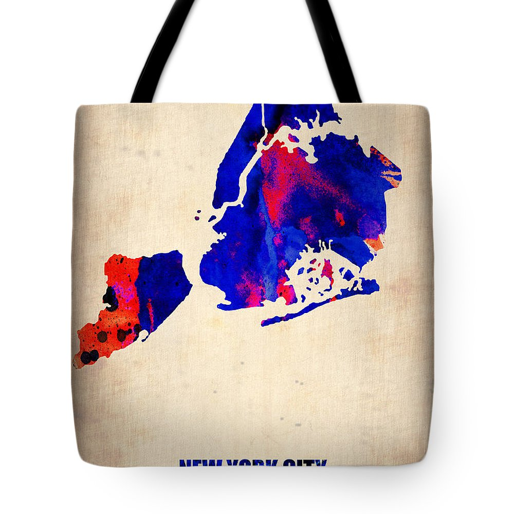 New York City Tote Bag featuring the digital art New York City Watercolor Map 1 by Naxart Studio