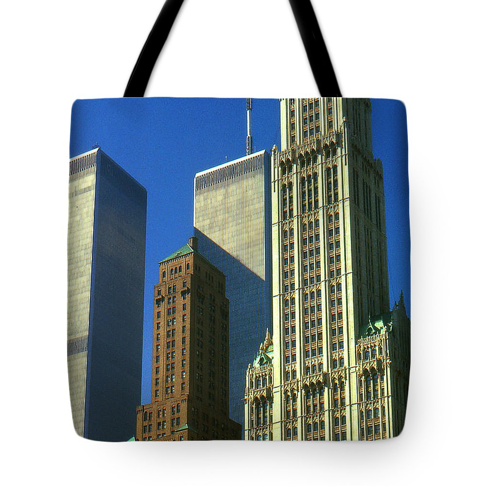 New+york Tote Bag featuring the photograph New York City - Woolworth Building And World Trade Center by Peter Potter