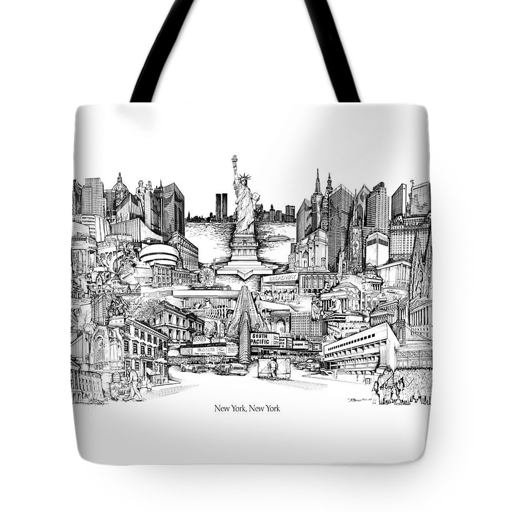 City Drawing Tote Bag featuring the drawing New York by Dennis Bivens
