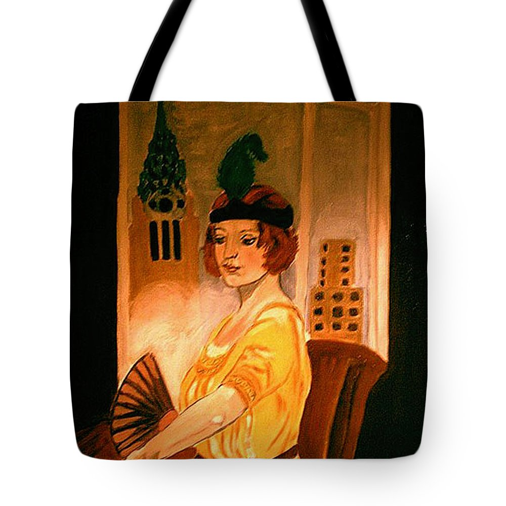 New York Tote Bag featuring the painting New York Fantasy by Rusty Gladdish