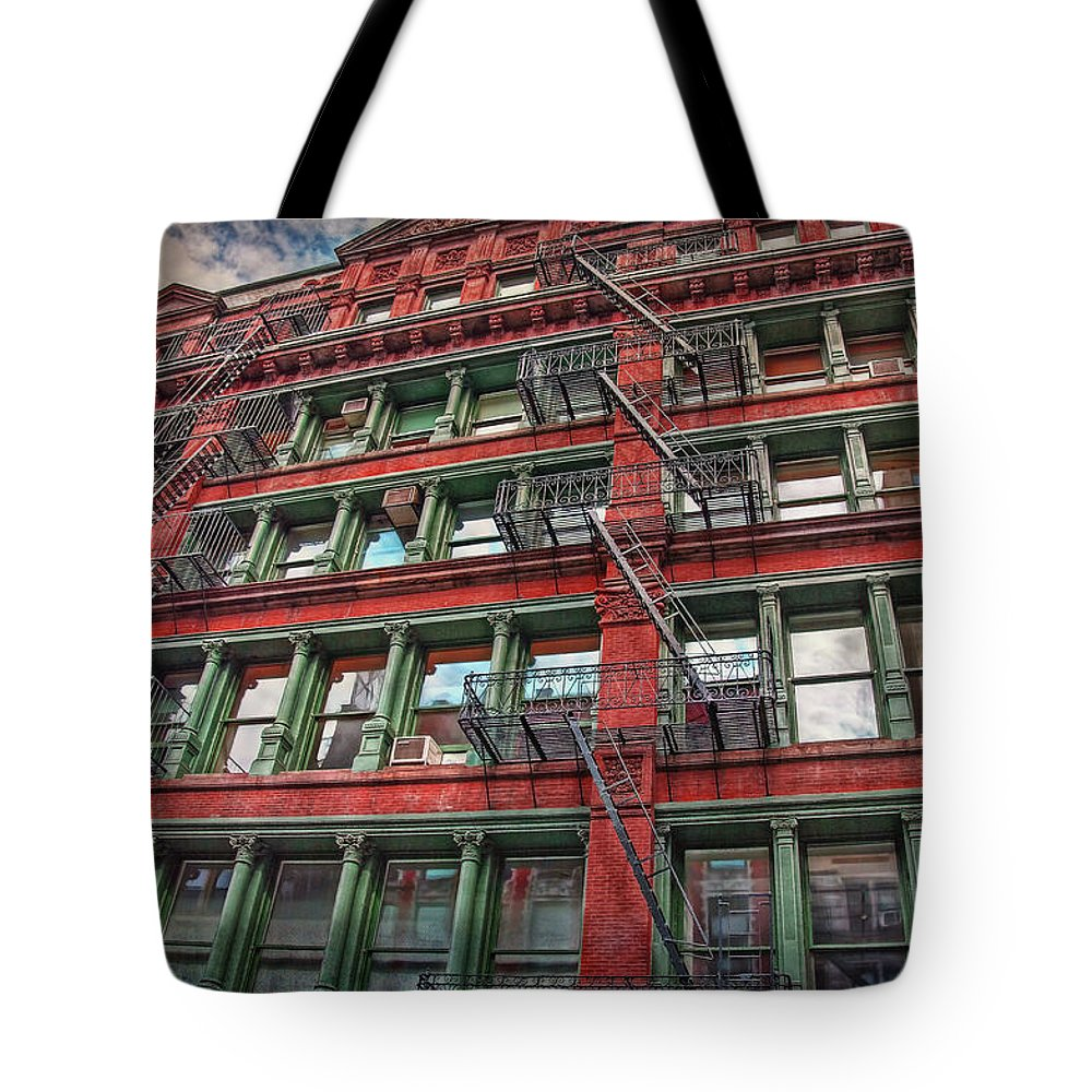New York Tote Bag featuring the photograph New York Fire Escapes by Hanny Heim