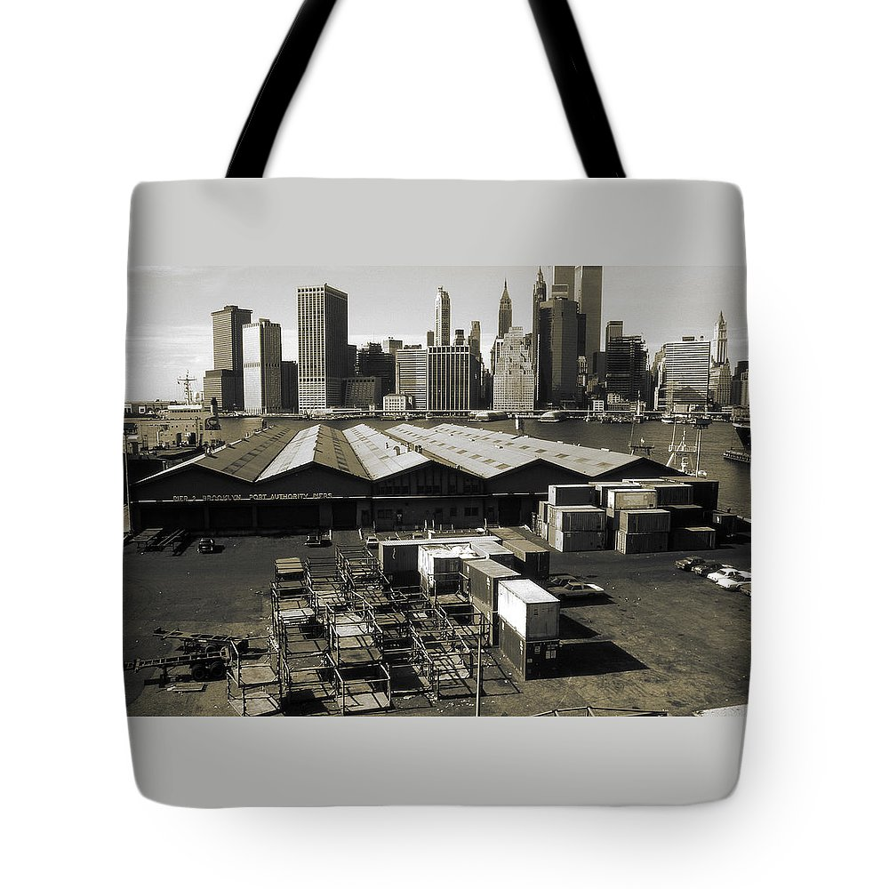 New+york Tote Bag featuring the photograph Old New York Harbor Skyline by Peter Potter