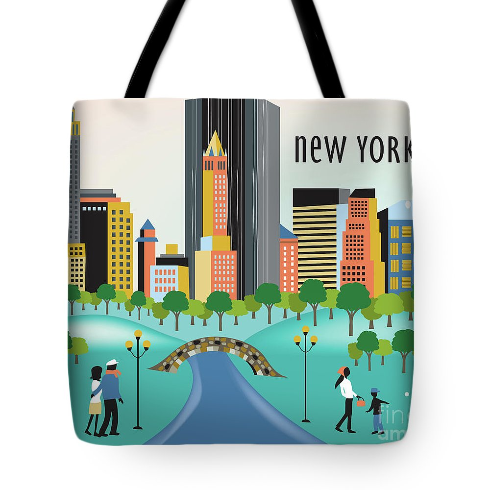Central Park Tote Bag featuring the digital art New York Horizontal Skyline - Central Park by Karen Young