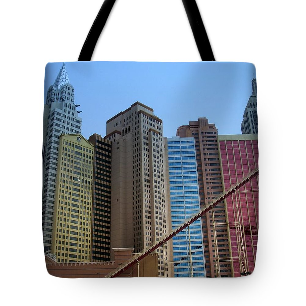 Vegas Tote Bag featuring the photograph New York Hotel by Anita Burgermeister