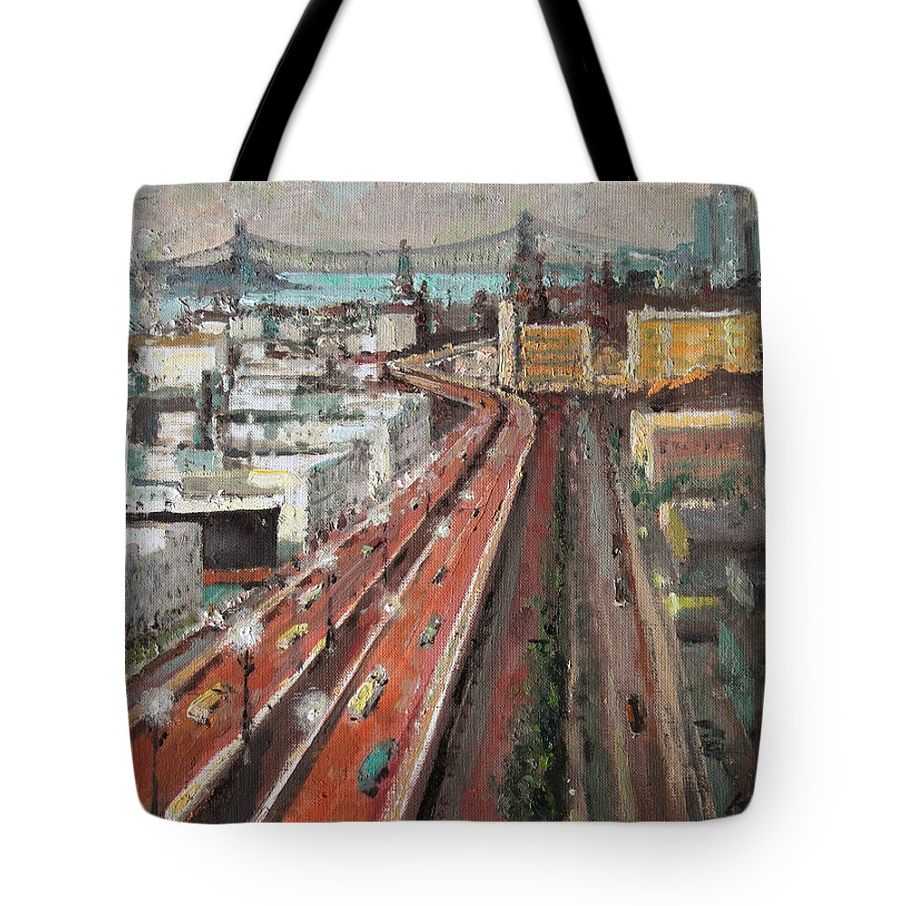 America Tote Bag featuring the painting New York. Manhattan. 1939 by Mark Kremer