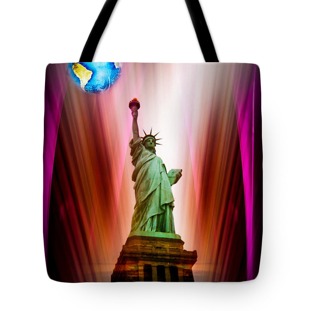 New York Tote Bag featuring the painting New York Nyc - Statue Of Liberty 2 by Walter Zettl