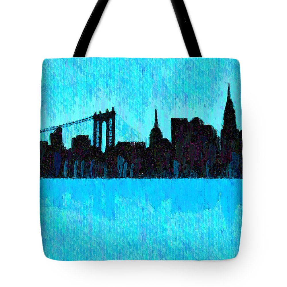 New York City Skyline Tote Bag featuring the digital art New York Skyline Silhouette Cyan - Da by Leonardo Digenio