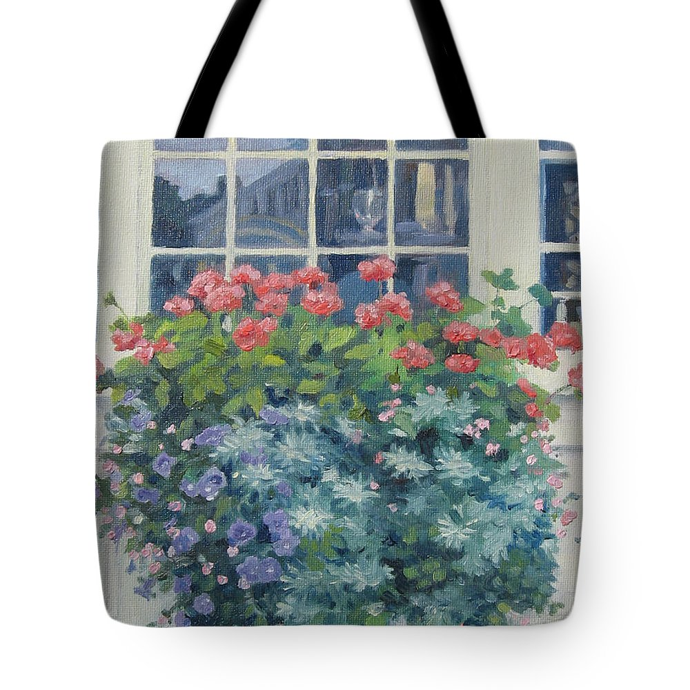 Leslie Mcgrath Tote Bag featuring the painting Newburyport Window by Leslie Alfred McGrath