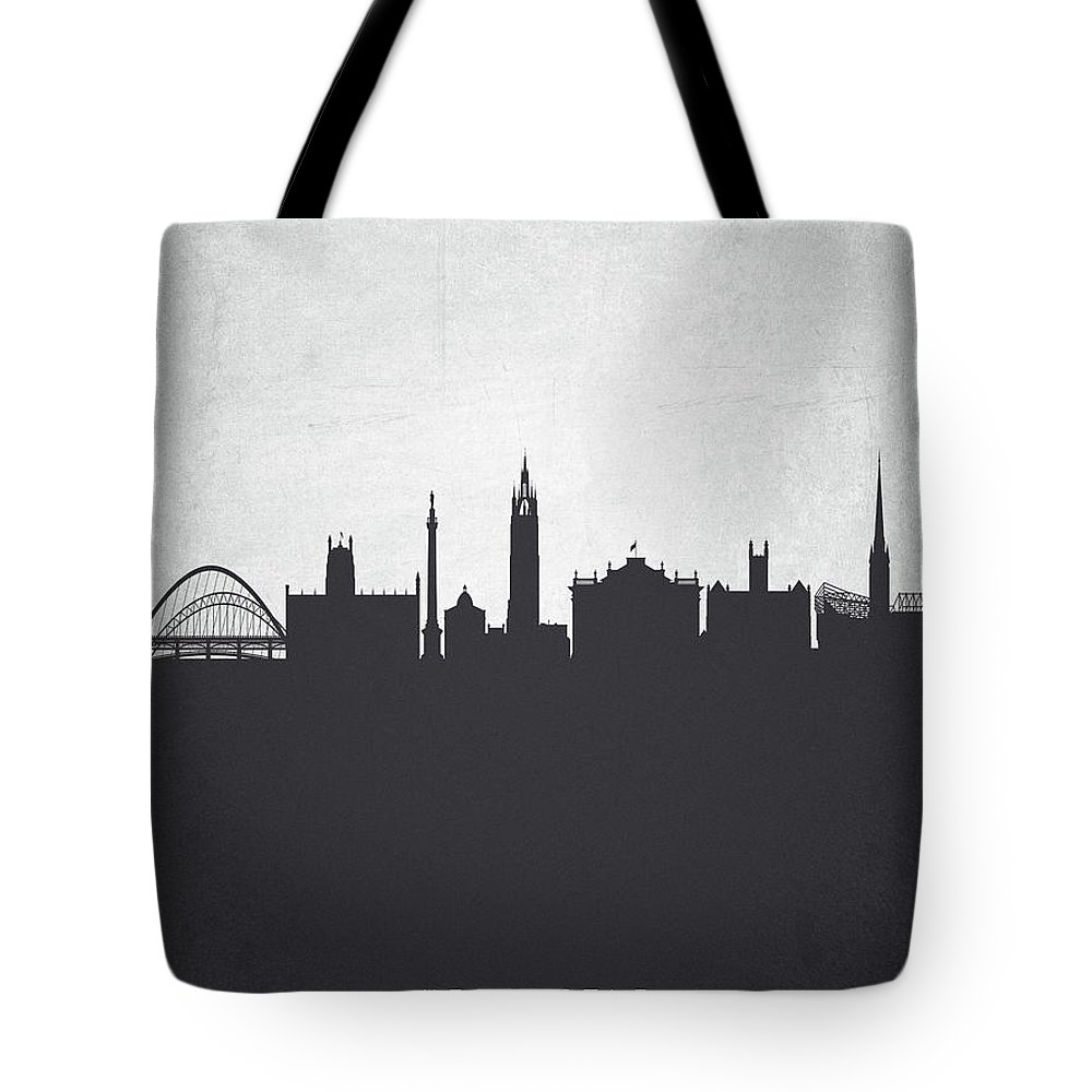 Newcastle Tote Bag featuring the painting Newcastle England Cityscape 19 by Aged Pixel