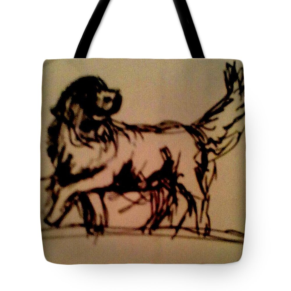 Dogs Tote Bag featuring the drawing Newfoundland Dog Sketch by Joyce Jenner
