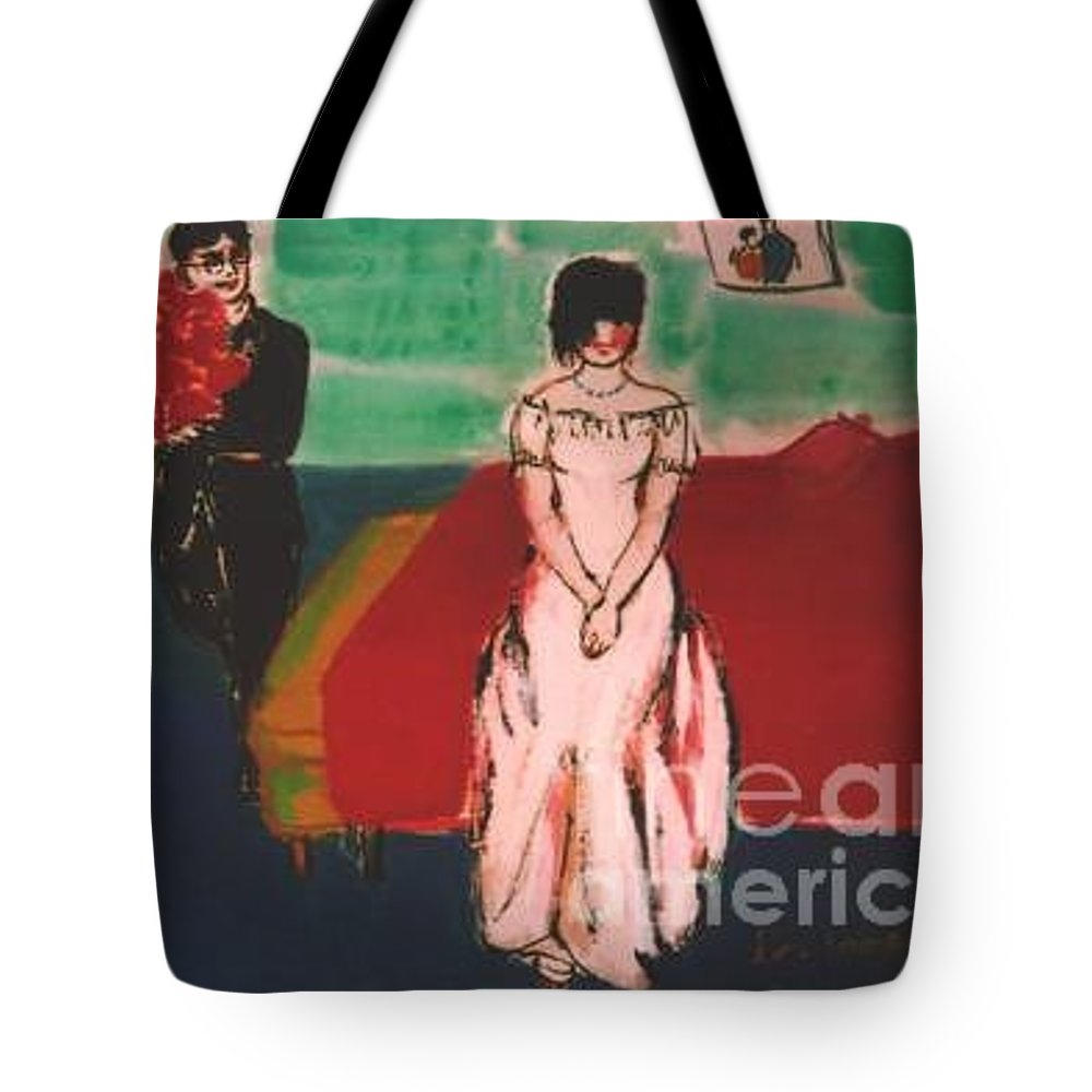 Chinese Tote Bag featuring the painting Newly Weds by Meihua Lu