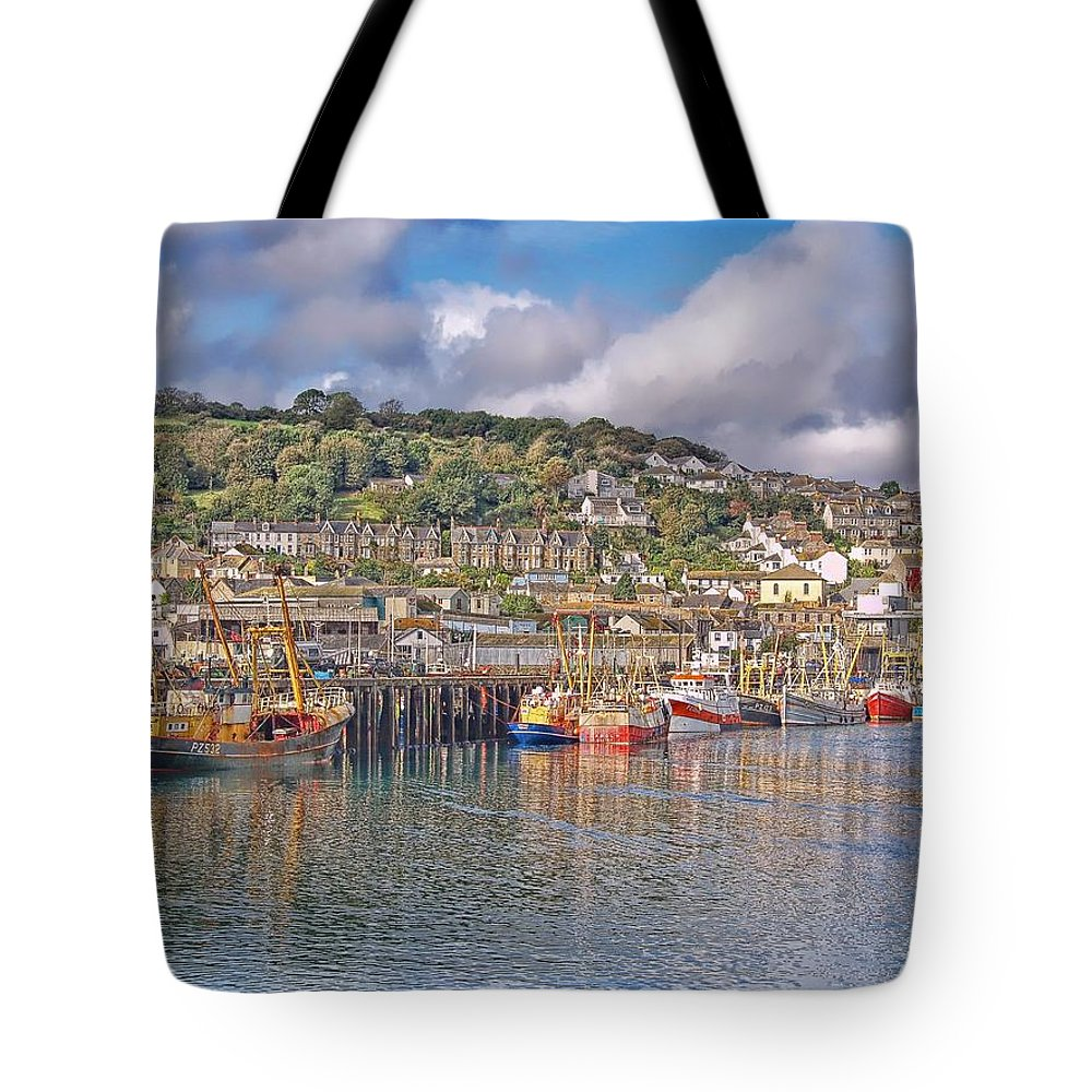 Newlyn Harbour Tote Bag featuring the photograph Newlyn Harbour Cornwall 2 by Chris Thaxter