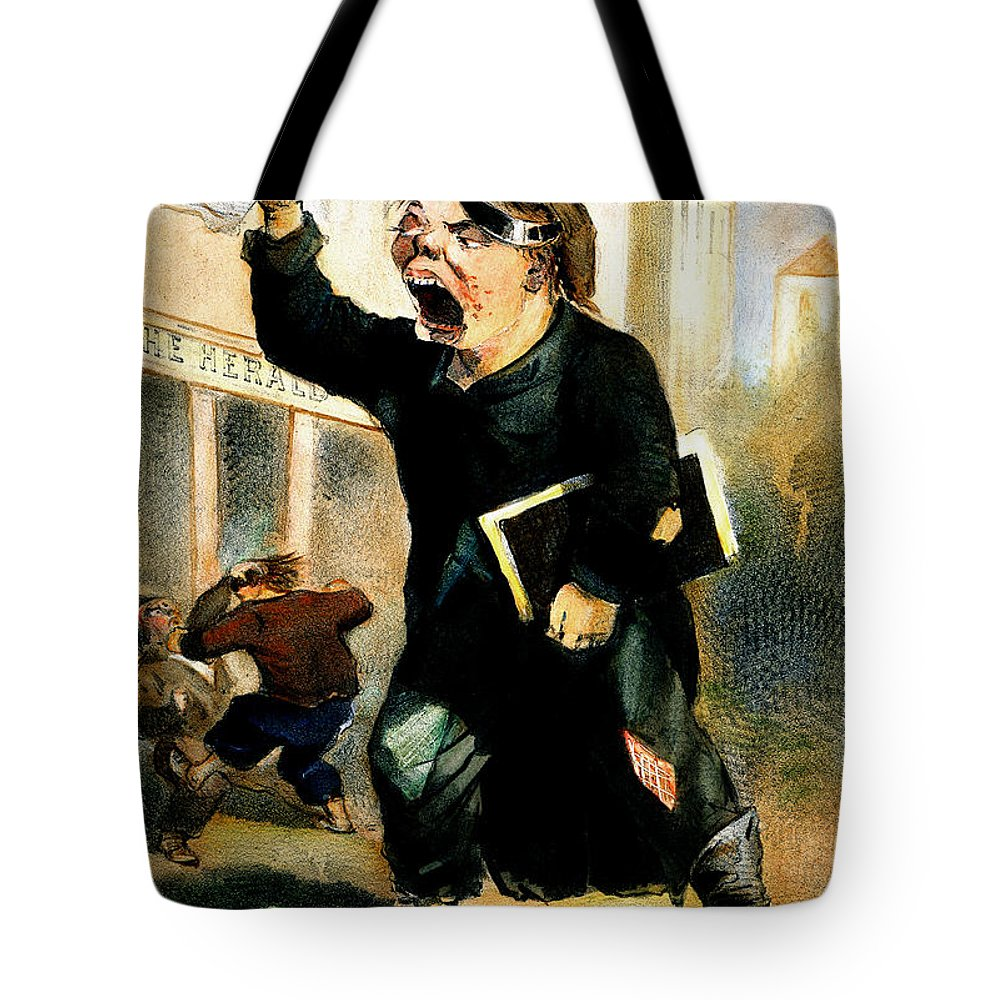 1847 Tote Bag featuring the photograph Newsboy Shouting, 1847 by Granger