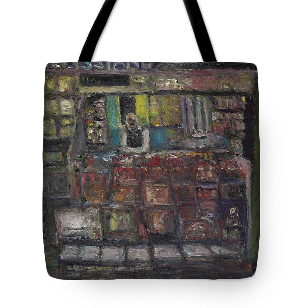 Newsstand Tote Bag featuring the painting Newsstand by Craig Newland