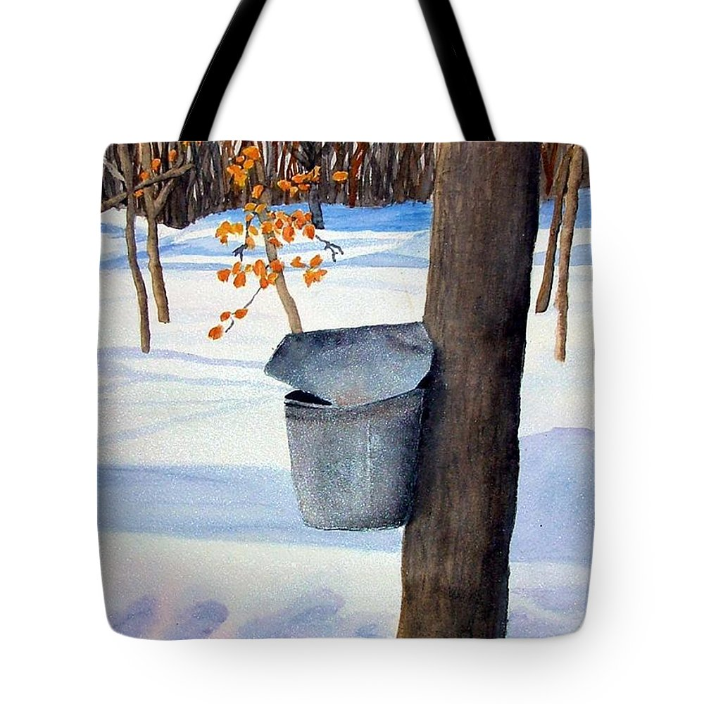 Sap Bucket. Maple Sugaring Tote Bag featuring the painting Nh Goldmine by Sharon E Allen