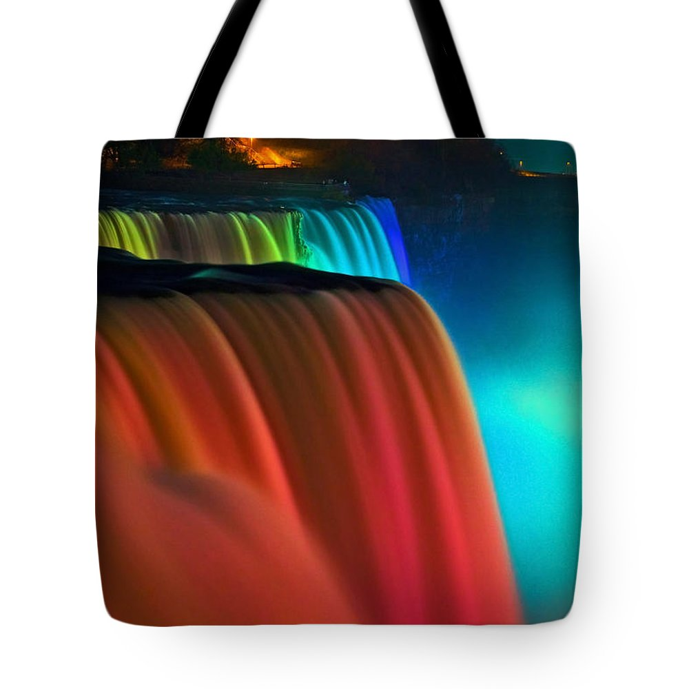 Niagara Falls Tote Bag featuring the photograph Niagara Falls At Night by Keith Allen