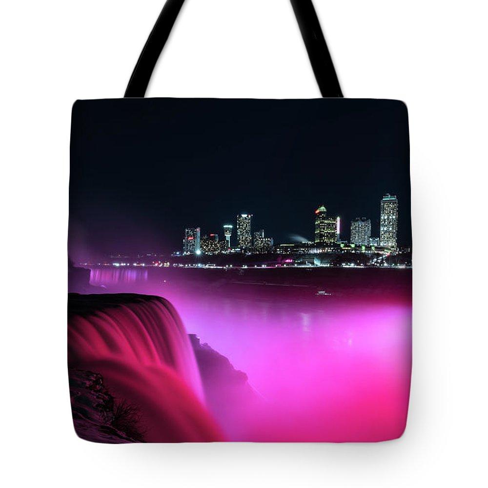 Usa Tote Bag featuring the photograph Niagara Falls At Night - Pink by Framing Places
