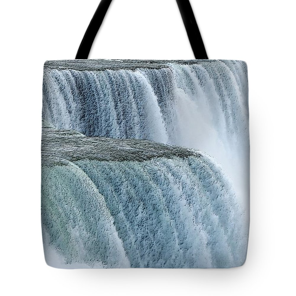 Charcoal Tote Bag featuring the photograph Niagara Falls Closeup Charcoal Effect by Rose Santuci-Sofranko