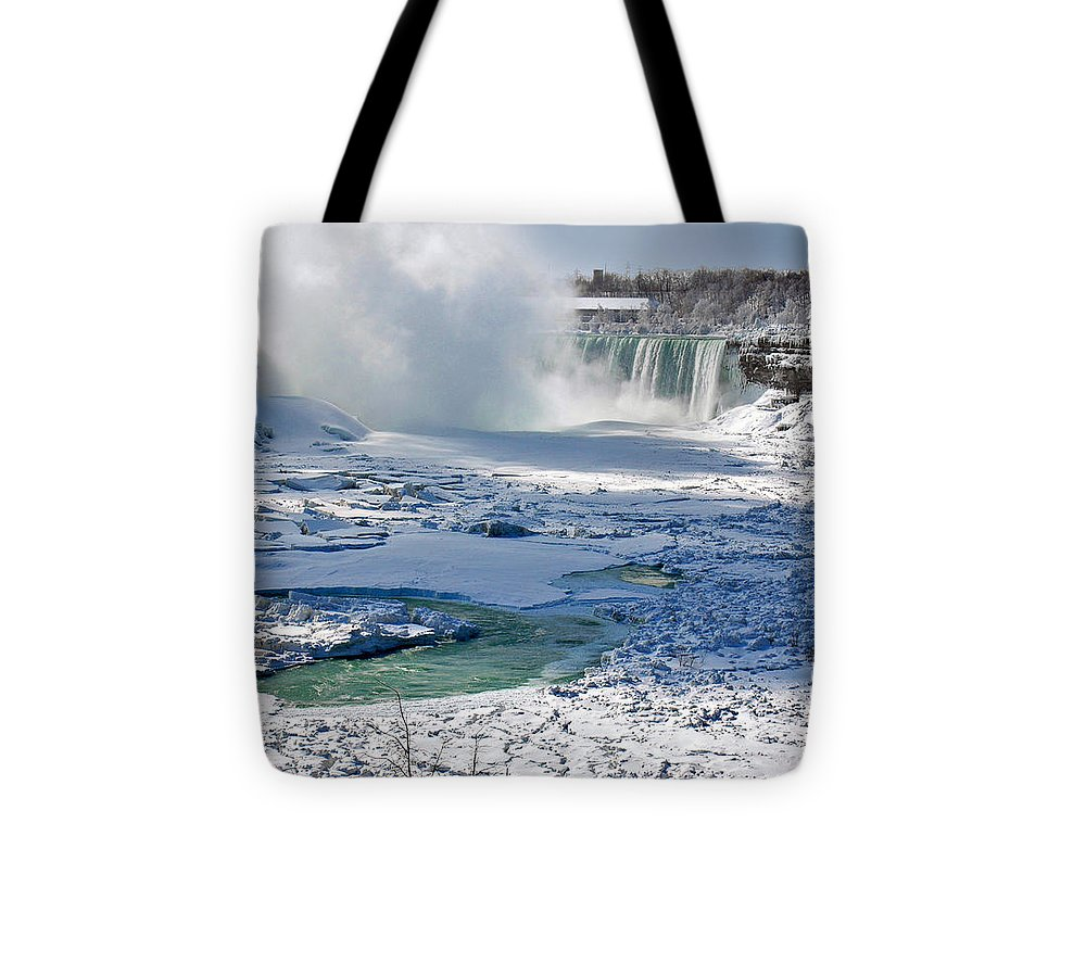 Niagara Falls Frozen Tote Bag featuring the photograph Niagara Falls Frozen II by J R Baldini Master Photographer