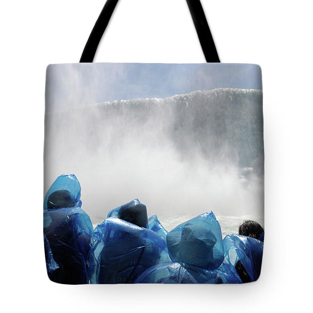 Niagara Falls Tote Bag featuring the photograph Niagara Falls Maid Of The Mist Boat Ride by Oleksiy Maksymenko