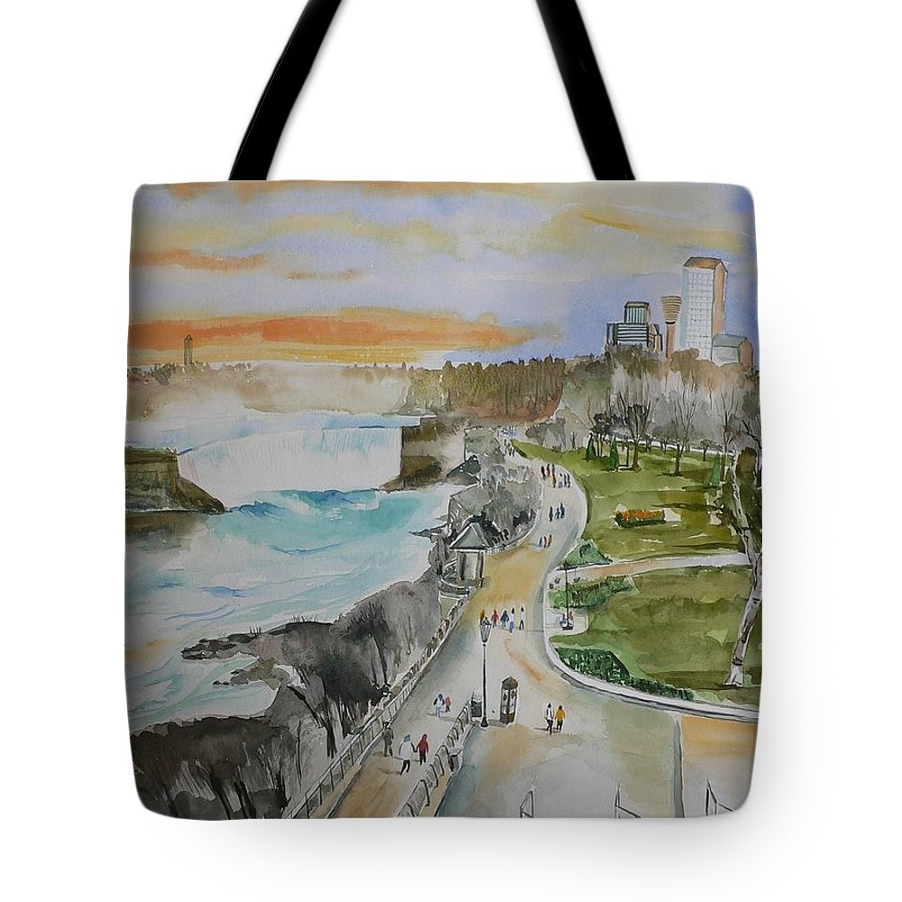 Niagara Tote Bag featuring the painting Niagara In Spring by Geeta Biswas