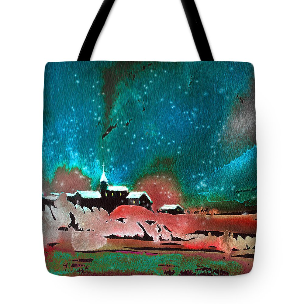 Watercolour Landscape Tote Bag featuring the painting Nichtfall 14 by Miki De Goodaboom