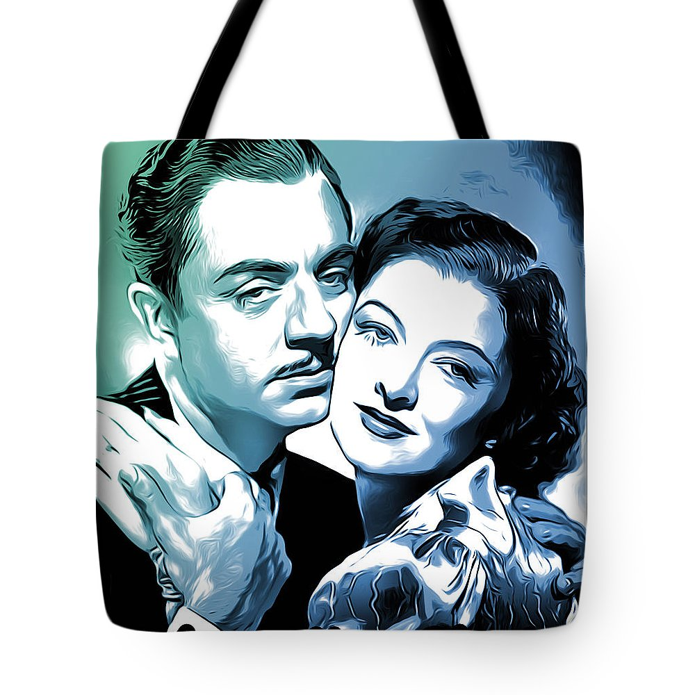 William Powell Tote Bag featuring the digital art Nick and Nora by Greg Joens