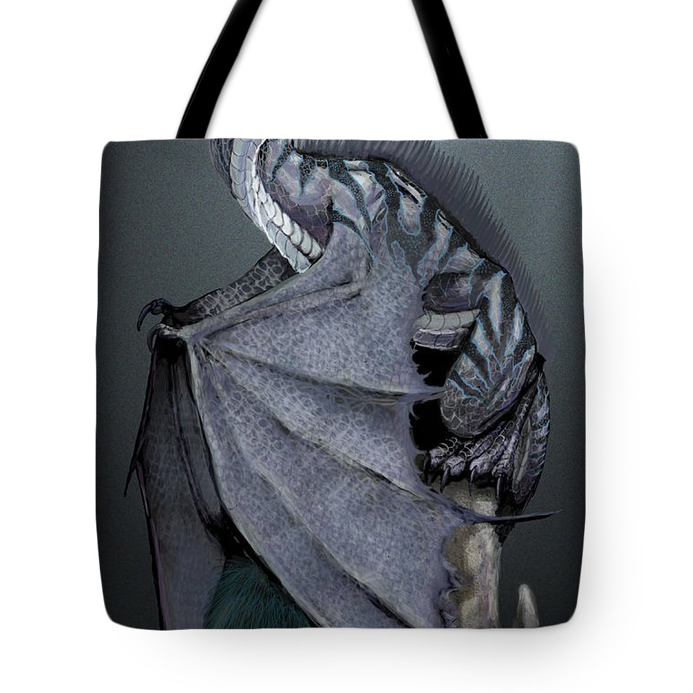 Dragon Tote Bag featuring the digital art Nickel Dragon by Stanley Morrison