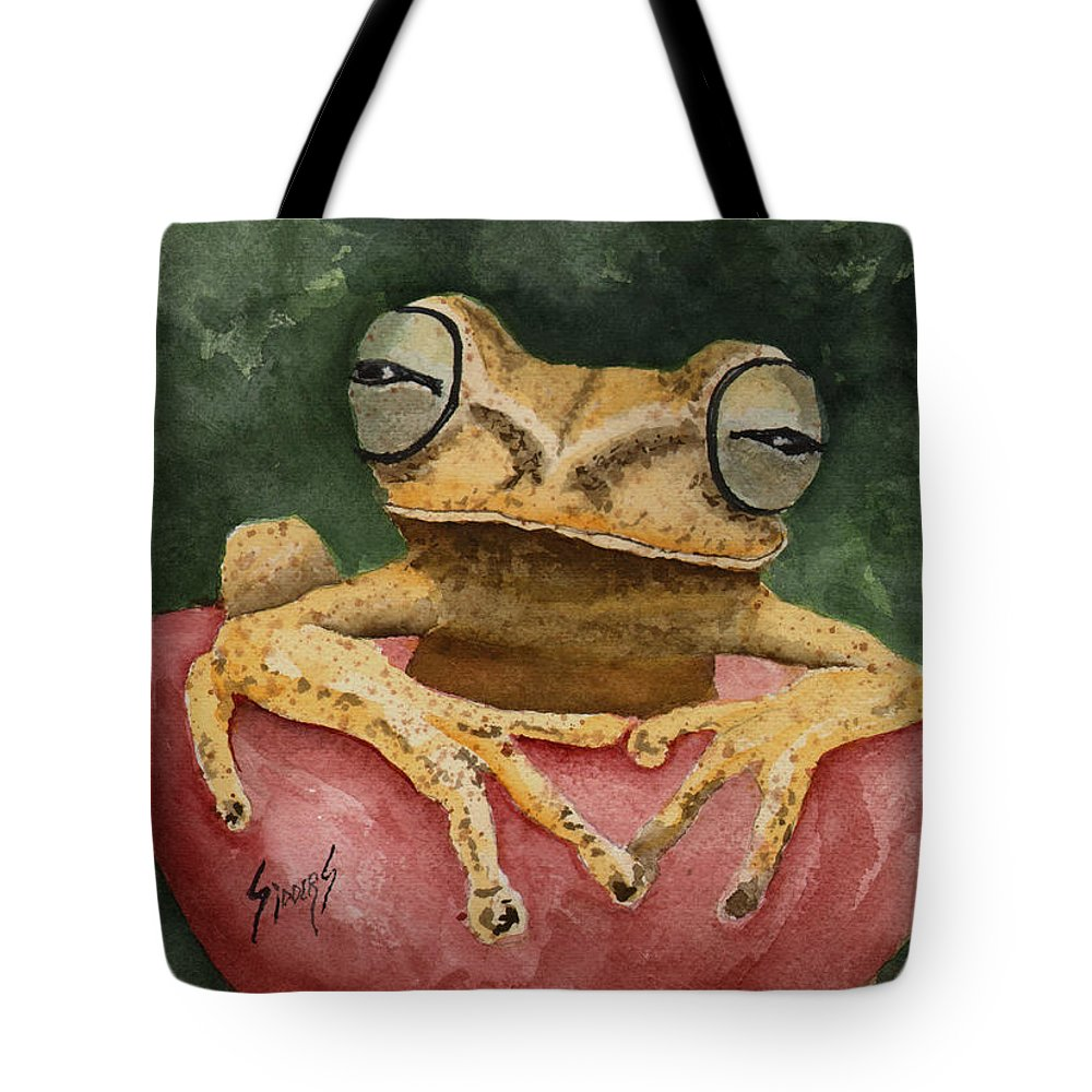 Frog Tote Bag featuring the painting Nic's Frog by Sam Sidders
