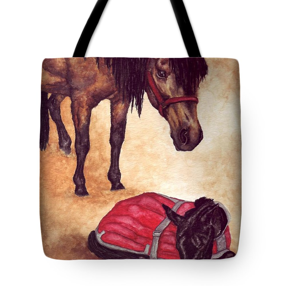 Horse Tote Bag featuring the painting Nifty And Hannah by Kristen Wesch