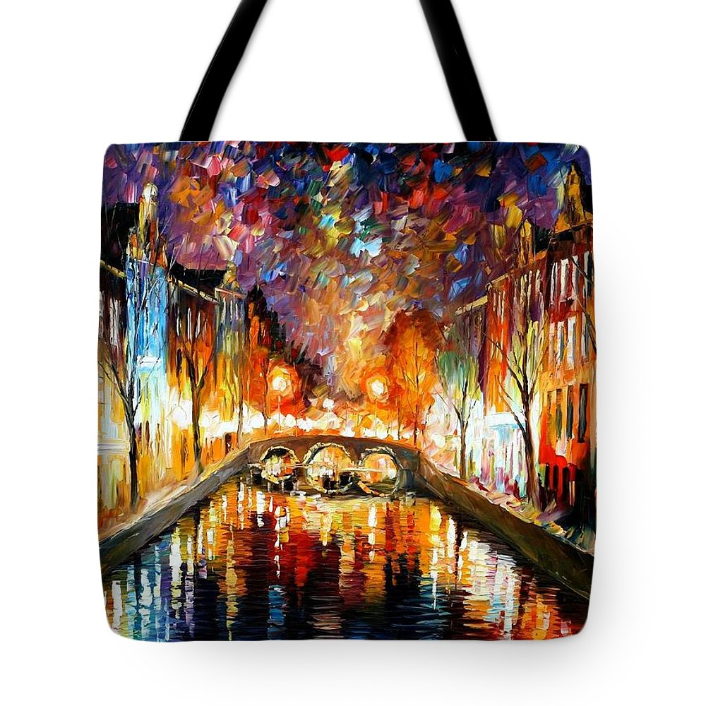 Afremov Tote Bag featuring the painting Night Amsterdam by Leonid Afremov