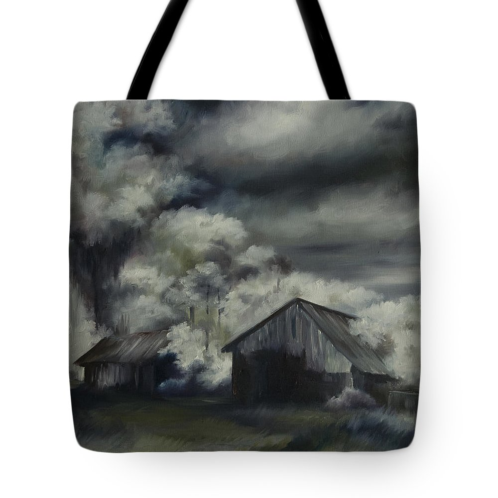 Motel; Route 66; Desert; Abandoned; Delapidated; Lost; Highway; Route 66; Road; Vacancy; Run-down; Building; Old Signage; Nastalgia; Vintage; James Christopher Hill; Jameshillgallery.com; Foliage; Sky; Realism; Oils; Barn Tote Bag featuring the painting Night Barn by James Christopher Hill