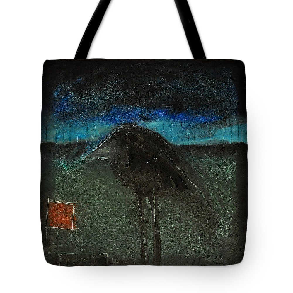 Bird Tote Bag featuring the painting Night Bird With Red Square by Tim Nyberg