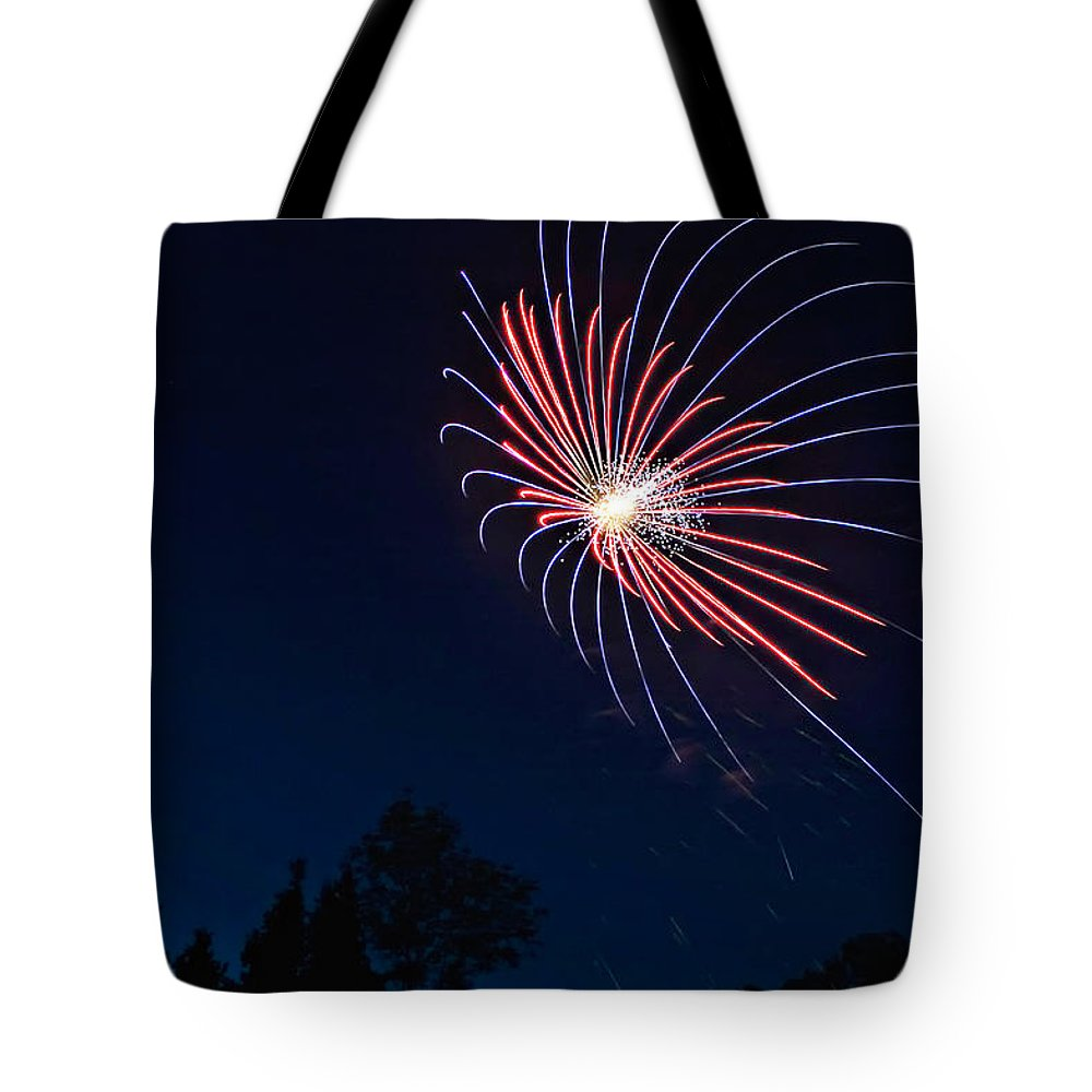 Fireworks Tote Bag featuring the photograph Night Bloom by Steve Harrington
