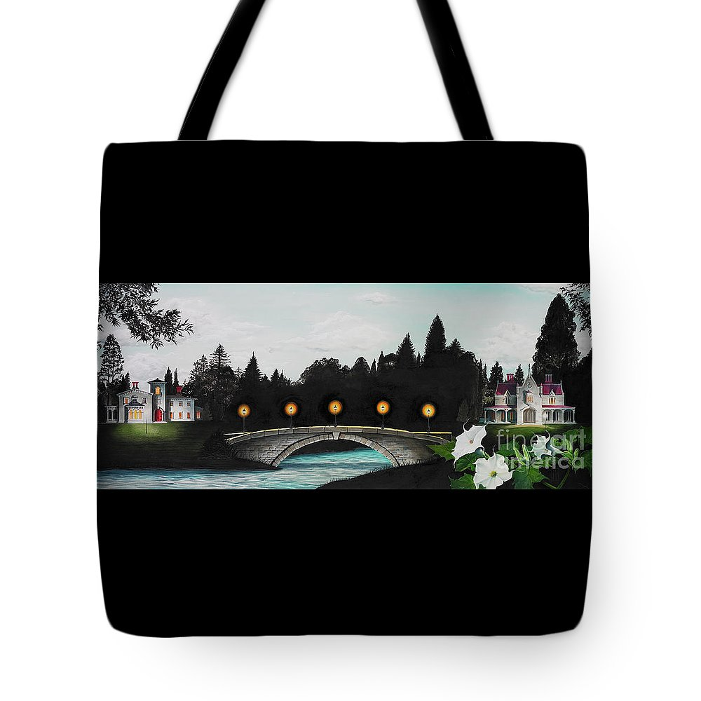 Architecture Tote Bag featuring the painting Night Bridge by Melissa A Benson