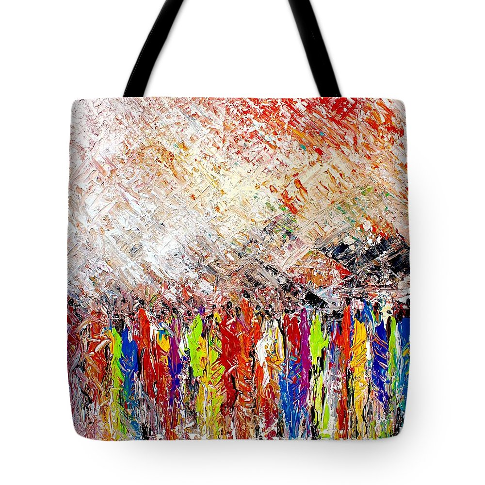 Nii Hylton Tote Bag featuring the painting Night Covers Us by Nii Hylton