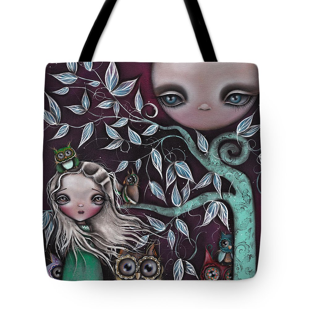 Moon Tote Bag featuring the painting Night Creatures by Abril Andrade Griffith