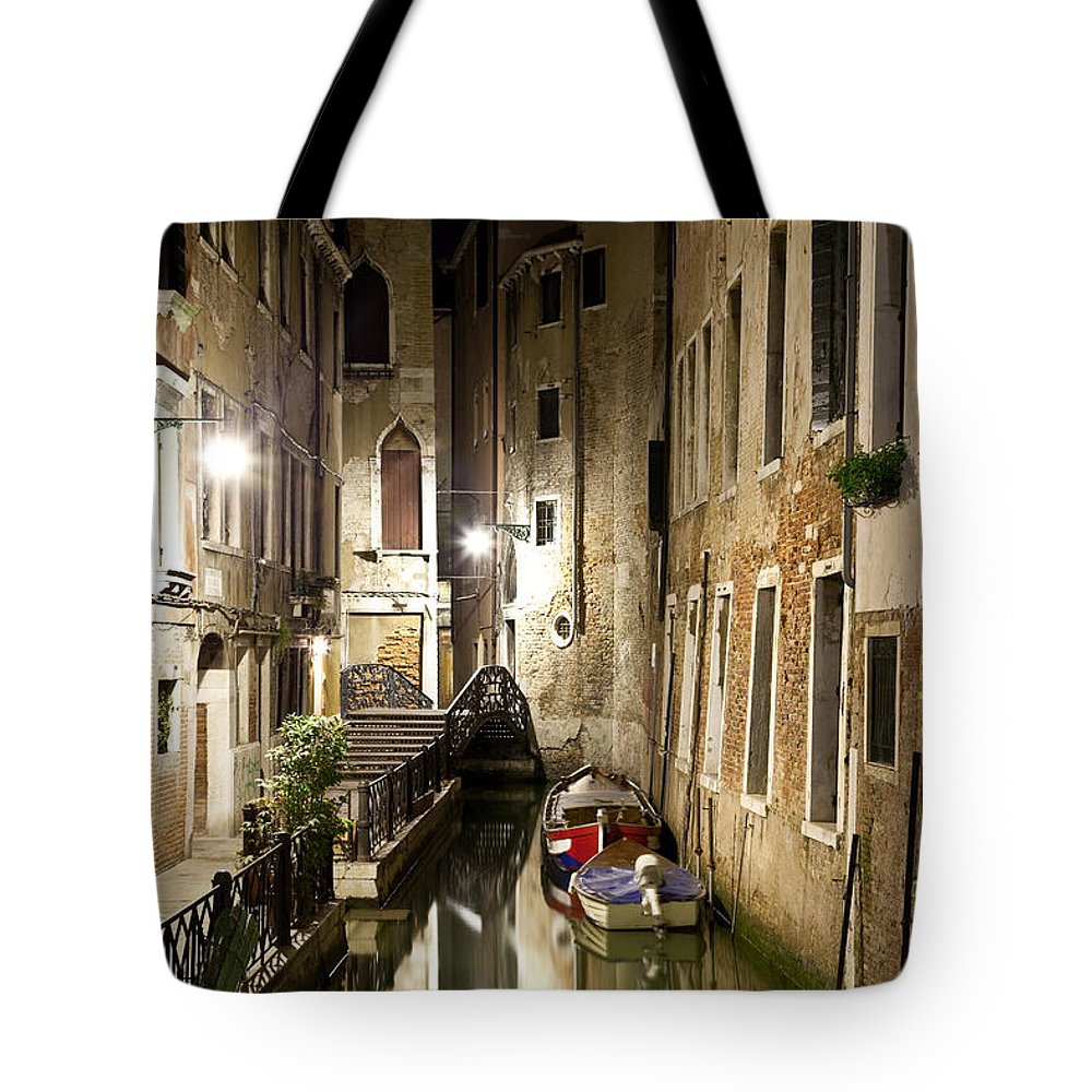 Venezia Tote Bag featuring the photograph Night Da Mario by Marco Missiaja