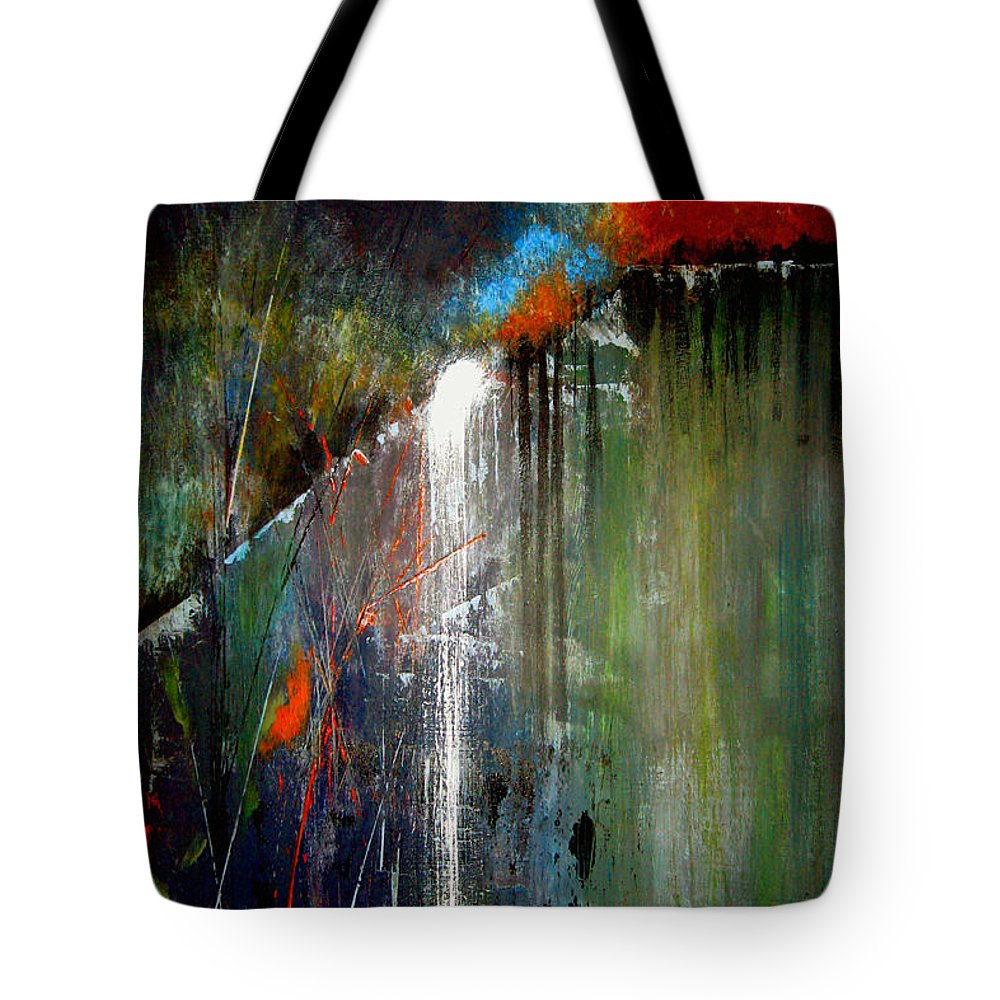Abstract Tote Bag featuring the painting Night Falls by Ruth Palmer