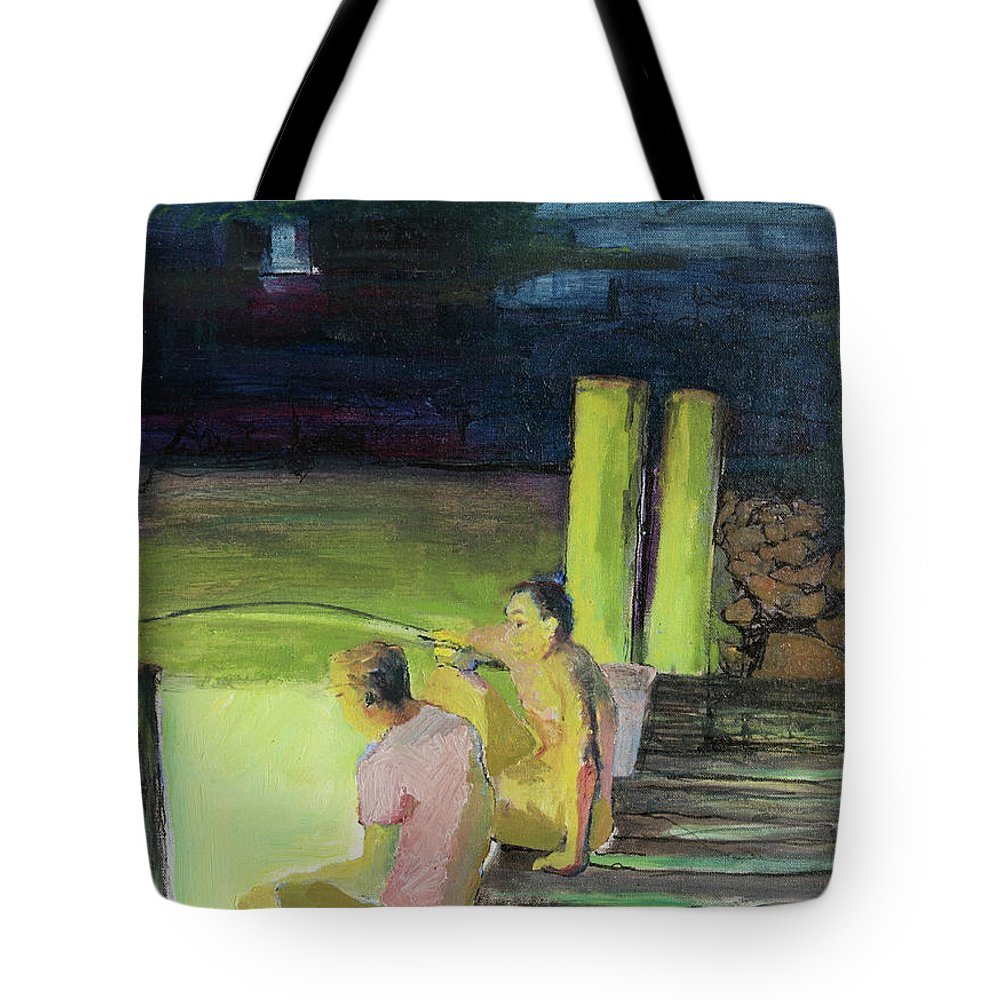 Night Tote Bag featuring the painting Night Fishing by Craig Newland