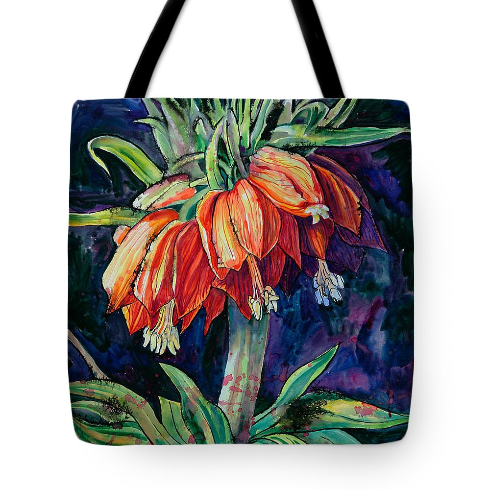 Flower Tote Bag featuring the painting Night Flower by Yelena Tylkina